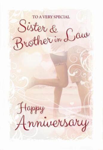 Sister /& Brother In Law Couple Cuddling Beach Design Happy Anniversary Card