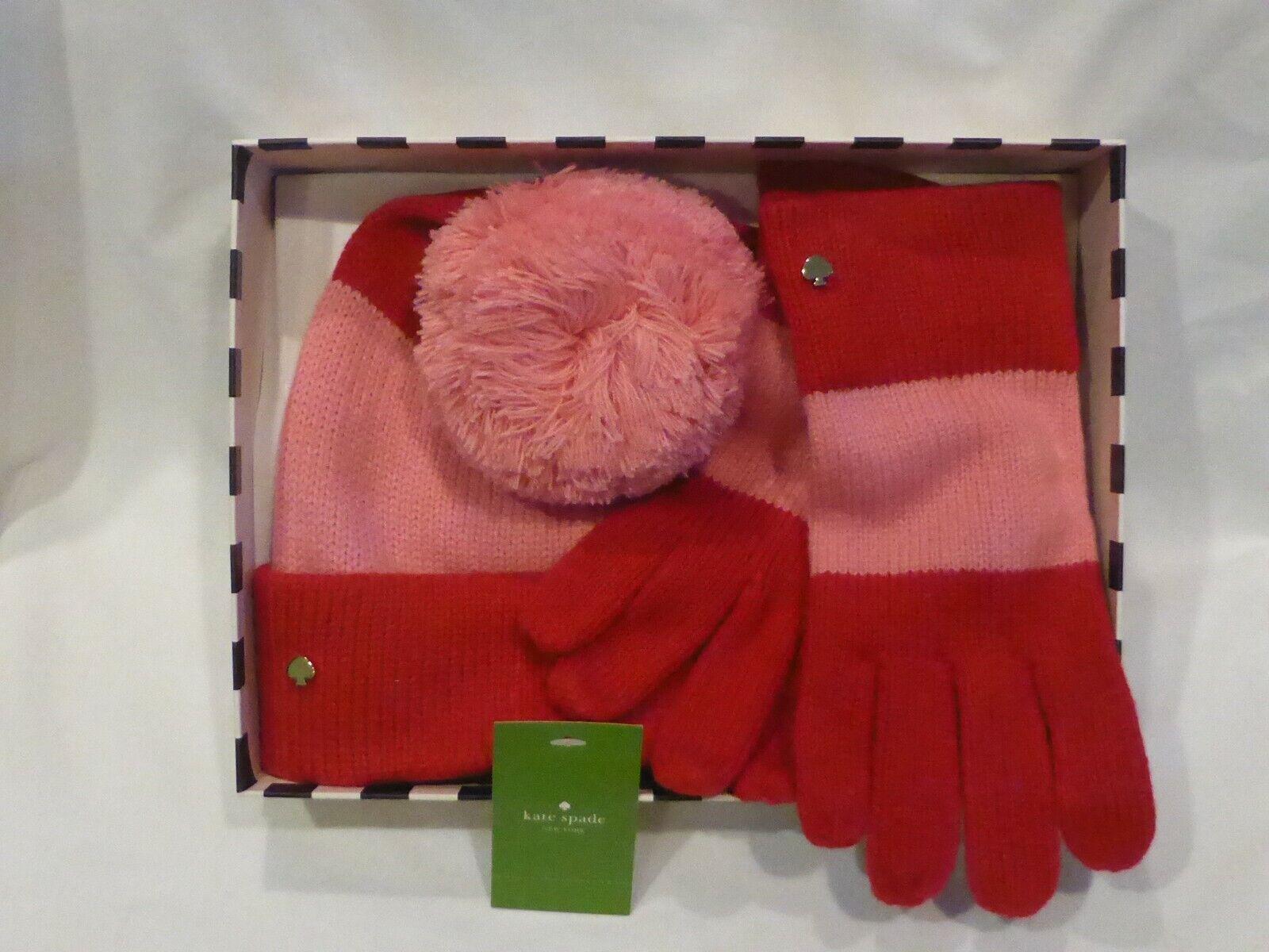 Kate Spade Beanie Pom Hat & Glove Colorblock Red & Pink Stripe Set NIB