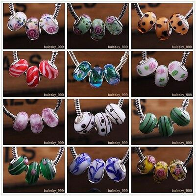 10pcs Murano Lampwork Glass Loose Spacer Beads Fit European Charms Bracelets