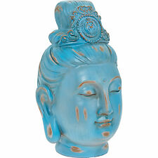 Large Blue Luxury Designer Buddha Head Ornament Duck Egg Asian Figurine Lady
