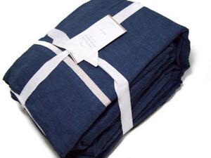 Pottery-Barn-Dark-Blue-Duo-Tone-Line-Belgian-Flax-Linen-Queen-Sheet-Set-New
