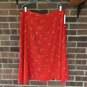 Abound-Nordstrom-Women-039-s-Plus-Size-Red-Heart-Print-Faux-Wrap-Midi-Skirt-XXL