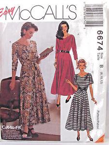 V-Neck-Dress-McCalls-Sewing-Pattern-6674-Misses-8-12-Tie-at-Waist-Front-or-Back