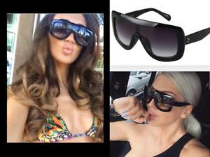 fcb87827c68b Image is loading Designer-Inspired-Shadow-Shield-Chunky-Black-Sunglasses- Celeb-