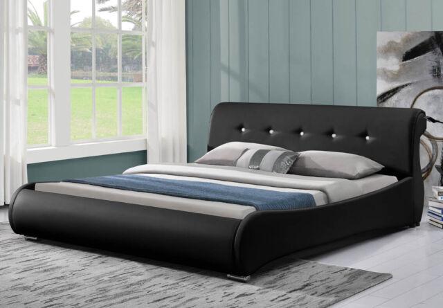 SVITA Doppelbett Polsterbett Bettgestell Bett Lattenrost Kunstleder 140x200, schwarz