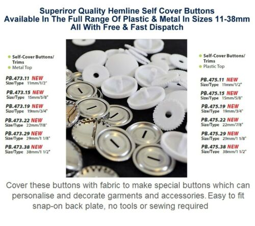 Hemline Self Cover Buttons Shells Metal /& Plastic All Sizes 11 15 19 22 29 38mm