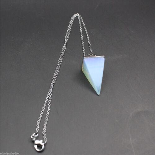 Natural Quartz Crystal Healing Chakra Gemstone Pendant Chain Reiki Necklace A+