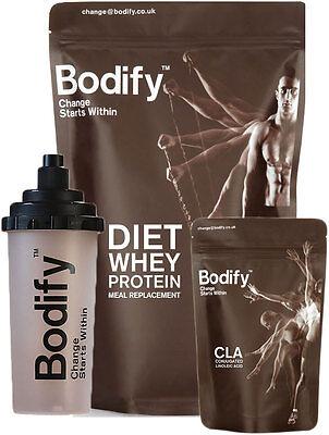BODIFY GYM STARTER PACK   1KG DIET WHEY PROTEIN SHAKE + CLA CAPS + FREE SHAKER