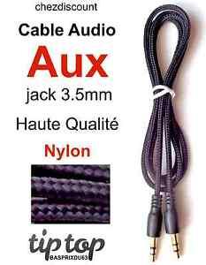 Cable-Cordon-Adaptateur-Prise-Auxiliaire-Aux-Jack-3-5-Nylon-Tresse-Audio-Stereo
