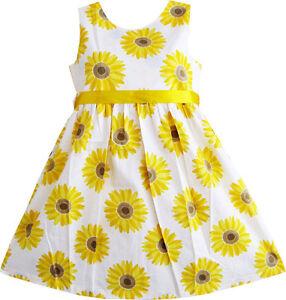 Sunny-Fashion-Girls-Dress-Yellow-Sunflower-School-Sundress-Party-Age-2-10