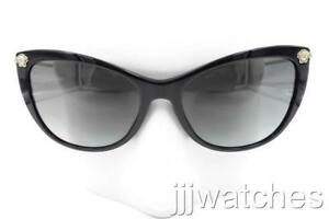 50ae5b285c New Versace Cat Eye Black Polished Gray Gradient Sunglasses VE4345BA ...