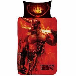 Hellboy-Set-Housse-de-Couette-Simple-Reversible-Literie-Lame-Flames