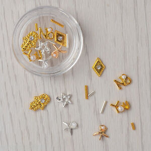 11pcs box gold silber nagel dekoration 3d studs stern perlen uv gel nail design ebay - Silber dekoration ...