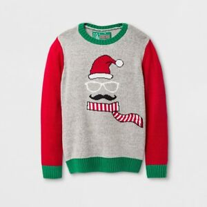 9d4950ff81ae Boys  Holiday Moustache Face Ice Gray Christmas Pullover Sweater ...