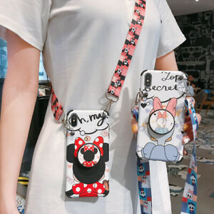 For-iPhone-11-Pro-Max-XS-X-7-8-Cute-Disney-Minnie-Stand-Holder-Strap-phone-Case
