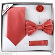 New in box Brand Q Men's necktie bowtie hankie lapel pin set party prom coral