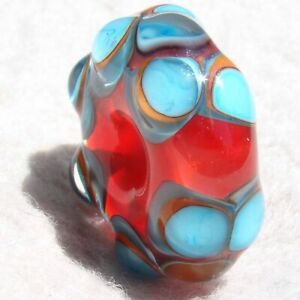 GNARLY-2-Handmade-Large-Hole-Glass-Bead-Flaming-Fools-Lampwork-Art-Glass-SRA
