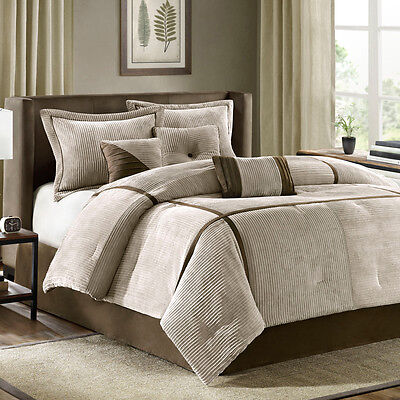 BEAUTIFUL SOFT COZY MODERN KHAKI BROWN CABIN TAUPE STRIPE TEXTURE COMFORTER SET