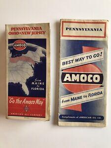 Vintage Amoco Pennsylvania/Ohio/New Jersey and Pennsylvania Road Maps 1940s