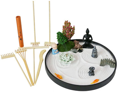 US Tabletop Mini Meditation Zen Garden w// Pavilion statue Rock Venues Rake Sand