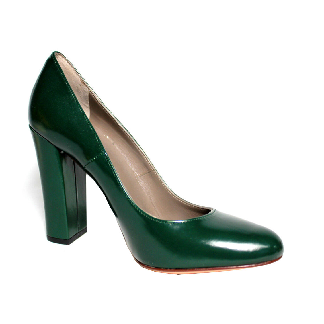 UPPER 100% CLASS  scarpa donna verde tacco cm 10 100% UPPER pelle MADE IN ITALY fb0627