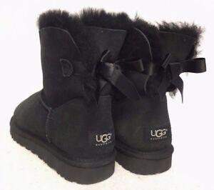 a870f073b37 Details about UGG Australia MINI BAILEY BOW BLACK SUEDE SHEEPSKIN BOOTS  WOMENS 1005062 short