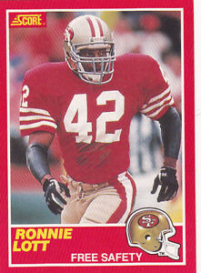 d54f6961b 1989 RONNIE LOTT - SCORE Football Card-   215 - San Francisco 49ers ...
