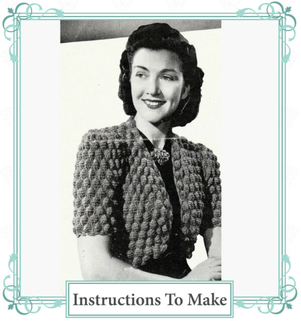 Vintage Visage Knitting Pattern-how to Make a 1940s Ladies Bolero ...
