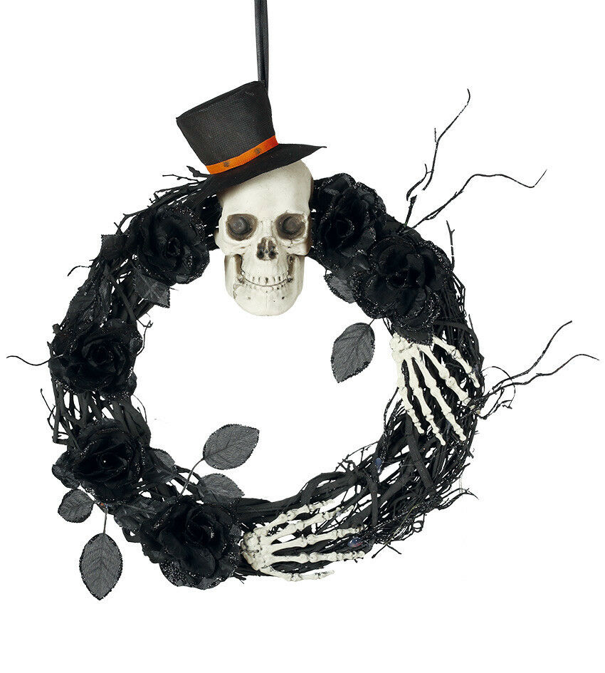 Groß Schädel Halloween Kranz Schwarz Flechtweide Dekoration 40cm Skelett