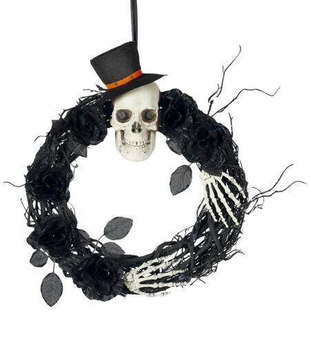 Large Skull Halloween Wreath Black Wicker Prop Decoration 40cm Skeleton Hanging