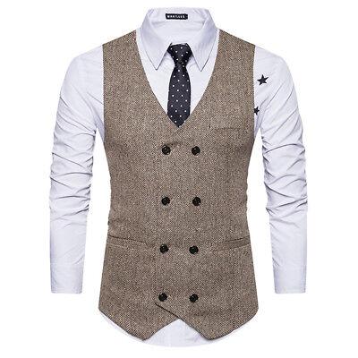 MEN/'S FORMAL BUSINESS SLIM DOUBLE BREASTED DRESS VEST SUIT COATS WAISTCOAT M~2XL