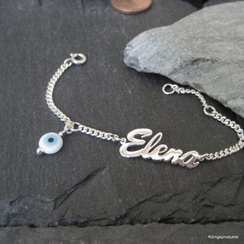 Namensarmband in 925er Silber mit Glücksauge Kinder Armband Kleinkind NA-05