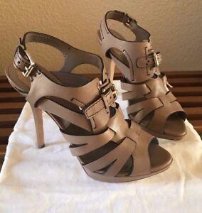 New-Christian-Dior-Taupe-Platform-Sandal-Dress-Shoe-Stilleto-Pumps-Sz-38-5