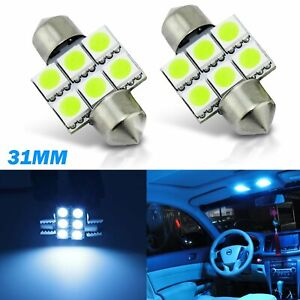 NEW 2 x Green 31mm LED 3175 6428 DE3175 6-SMD Dome Wedge Interior Light Bulbs