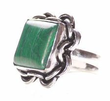 Exquisite Emerald Green Stone /chrome Flower Embroidered Slim Band Ring(Ns10)