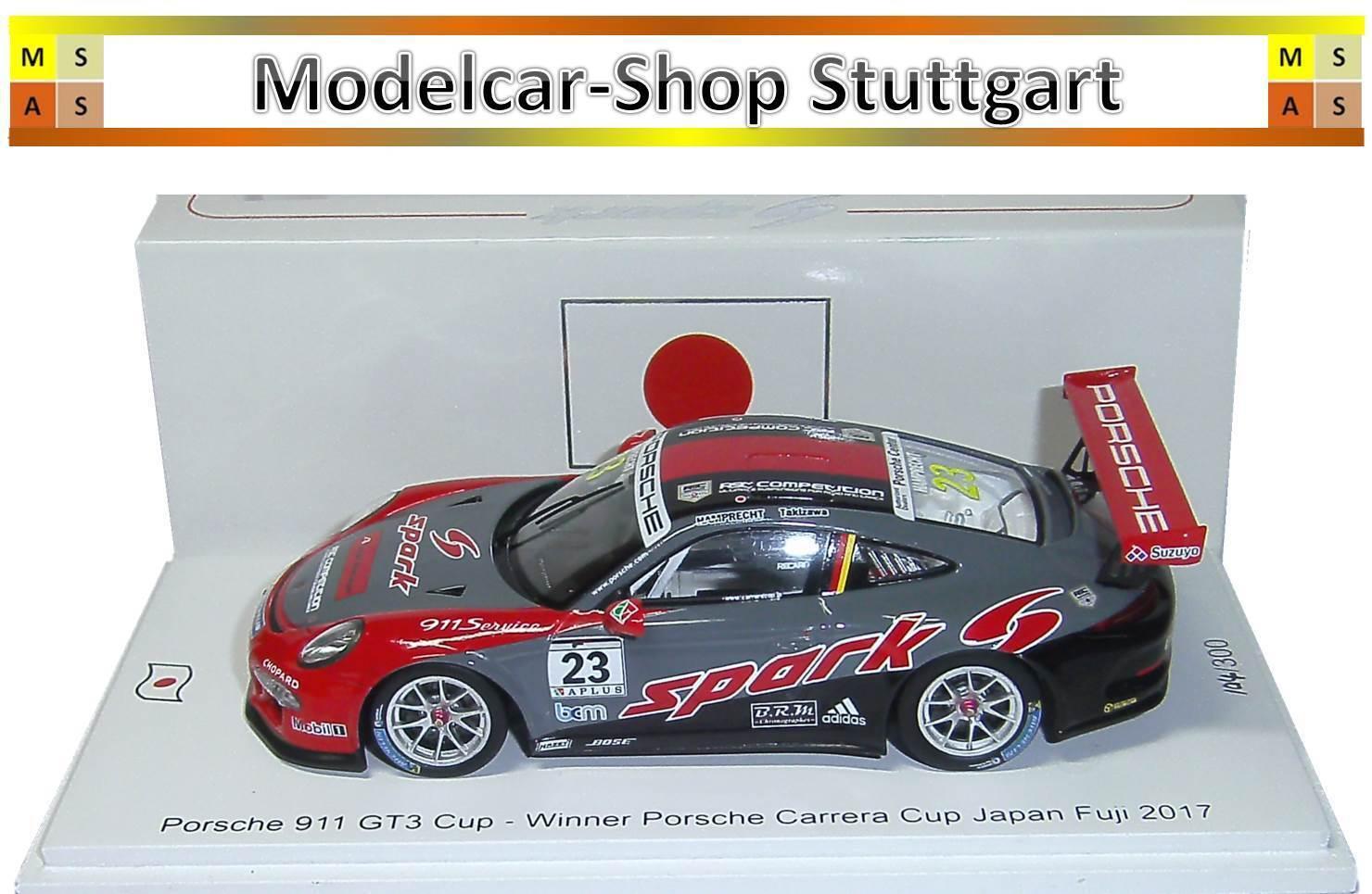 Porsche 911 gt3 Cup  23 Winner Carrera Japon Cup Fuji 2017 Spark 1 43 limitée