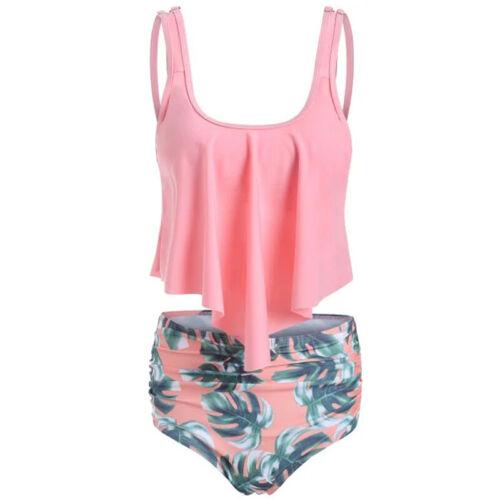 Damen Rüschen Tankini Set Badeanzug Bademode Blumen Hohe Taille Zweiteilig Mode