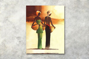 Watercolor-African-Woman-Modern-Home-Art-Decor-Wall-Canvas-Abstract-Oil-Painting