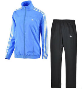 Details zu ADIDAS Damen Trainingsanzug Jogginganzug Sportanzug gewebte Microfaser hellblau