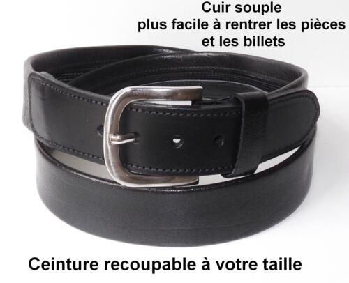 CEINTURE HOMME CACHE BILLET CUIR SOUPLE NOIR TAILLE JUSQU/'A 120 VOIR DESCRIPTIF