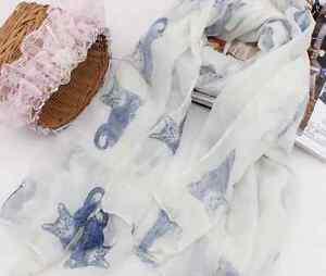 White-Cutie-Cat-Lady-Women-Fashion-Stylish-Soft-Scarf-Shawl-Headscarf-Stole