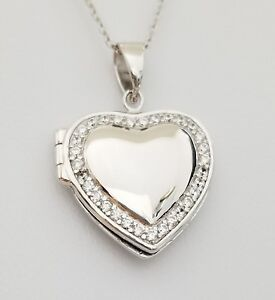 925-Sterling-Silver-Cz-Stones-Locket-Memorial-Heart-Pendant-Necklace