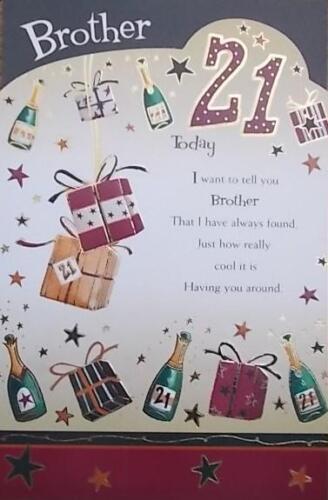 Tarjeta De Cumpleaños hermano edad 21 Calidad Superior 830062
