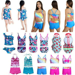 e4e09f853ab Image is loading Girls-Floral-Halter-Spaghetti-Tankini-Swimsuit-Swimwear -Summer-
