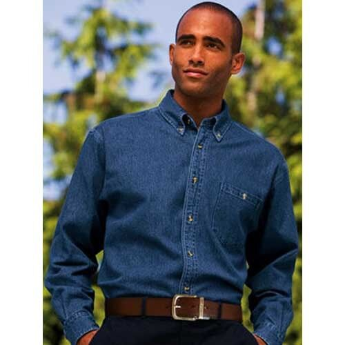 Denim Shirt Short Sleeve / Long Sleeve Button Down Collar Button ...