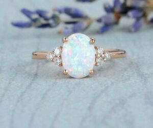 3Ct-Oval-Cut-Fire-Opal-amp-Diamond-Engagement-Solitaire-Ring-14K-Rose-Gold-Finish
