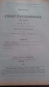 Revista ESCUELA DE ANTROPOLOGÍA 16 Eme Annee 1906F. Alcan N º XII ABE