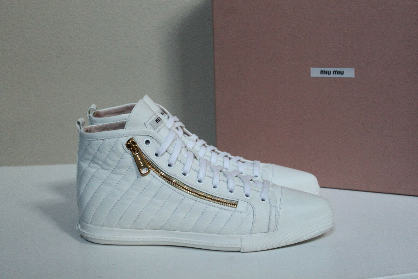 8.5   38.5 Miu Miu Pointed Toe White Leather Lace up High Top Sneaker Flat shoes