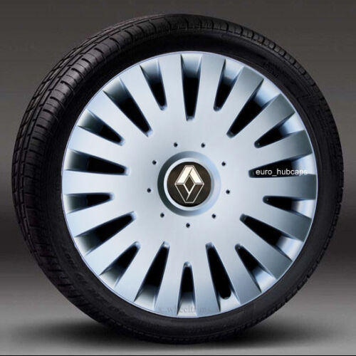 """cantidad 4 Tapacubos Cubiertas Para Encajar Renault Clio Adornos de Plata 15/"""" rueda"""