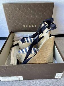 Gucci Authentic Espadrille Wedge Sandals EUR 37